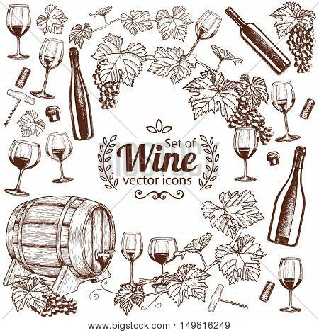 Background of sketch wine icons with round frame. Template for packaging cards posters menu. Vector stock illustration.