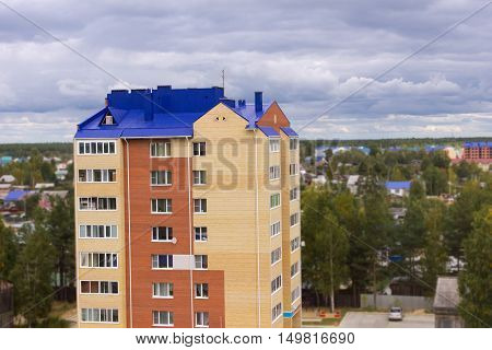 Brick multi-storey building residential house. stock photo