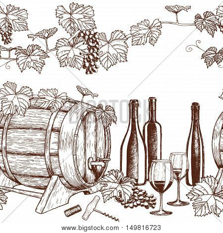 Seamless horizontal borders of sketch wine icons on a white background. Vector stock illustration.