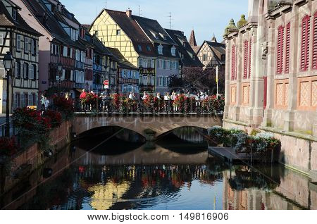 COLMAR, FRANCE - SEPTEMBER 12: View from the river La Lauch by the market hall in the city Colmar in France on September 12, 2016.
