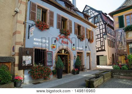 RIBEAUVILLE, FRANCE - SEPTEMBER 13:  Beautiful old restaurant building at Place de Ancien Hopital in the village Ribeauville in France located by the Alsace wine route on September 13, 2016.