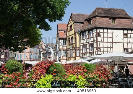 COLMAR, FRANCE - SEPTEMBER 14: View from the city Colmar an old french town in the district Alsace on September 14, 2016.