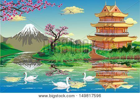 Japanese Palace on a river with swans. Mount Fuji. Sakura. Landscape - swans, lake, sunrise. Vector illustration