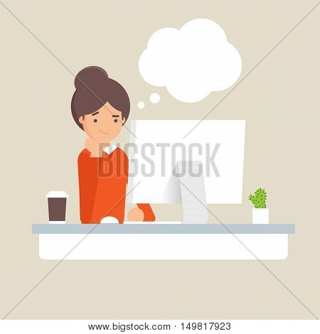 Vector illustration of businesswoman thinking with empty thought bubble