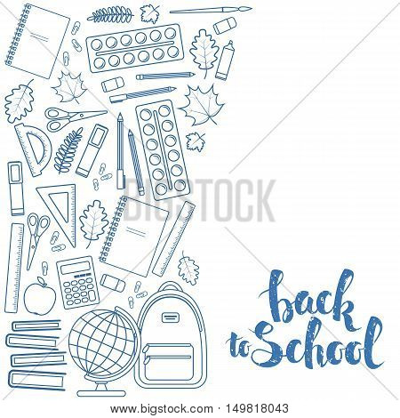 Side vertical border with education icons. Template for packaging cards posters menu. Vector stock illustration.