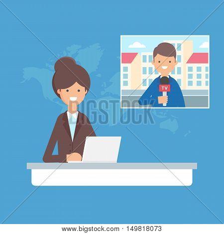 TV news, live stream vector illustration, flat style