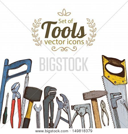 Set of repair tools icons. Vector stock illustration.