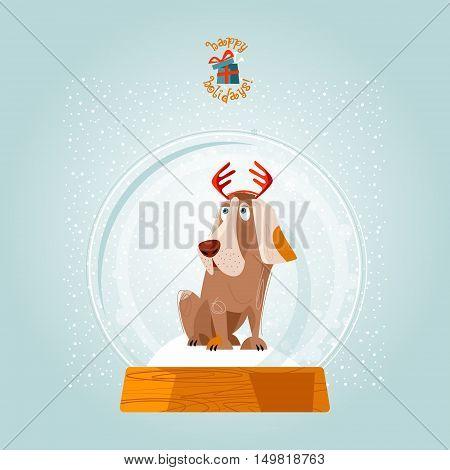 Christmas snow globe and dog. Christmas greeting card. Vector illustration