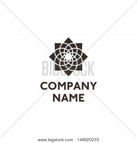 Abstract spiral logo with sample text isolated on white background