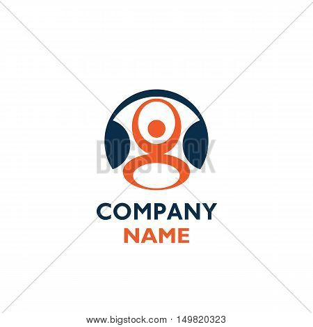 Abstract dark blue and orange logo with sample text