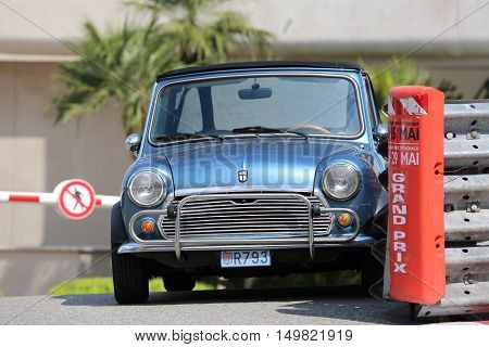Monte-Carlo Monaco - May 18 2016: Blue Retro Car Austin Mini Cooper (Front View) At The City Street in Monaco French Riviera