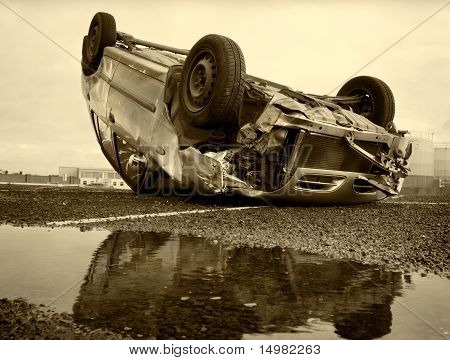 Car Turned Upside-down, Sepia