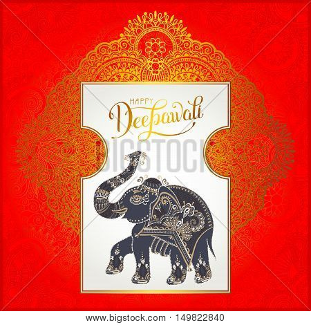 Happy Deepawali greeting card with hand written inscription and elephant to indian light community diwali festival, vector illustration eps10