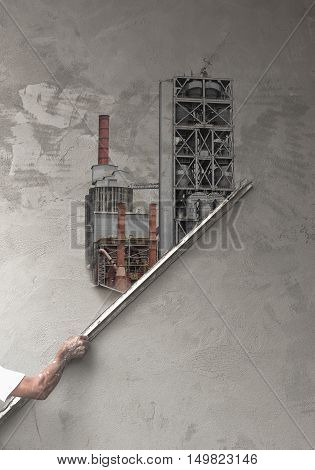 Concept,worker Plastering At Wall Become Of Factory