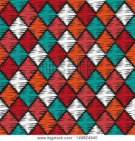 Rhombuses seamless pattern. Vector background with scribble rhombus.