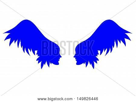 two profiles of individuals with wing - hair vector illustration of a silhouette on the banner card cover.