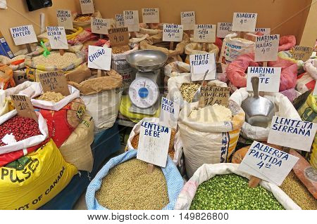 Bags with flour, maize and others at the market in Celendin, Peru, South America.
