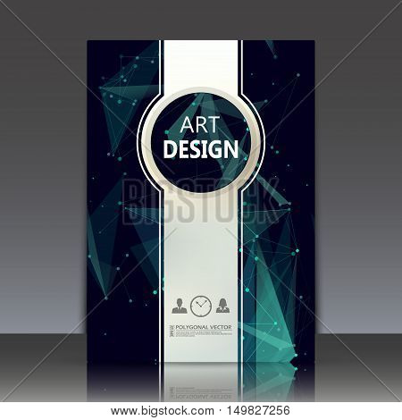 Abstract Composition, Polygonal Texture, A4 Brochure Title Sheet, Cosmic Theme Paperback, Green Spac