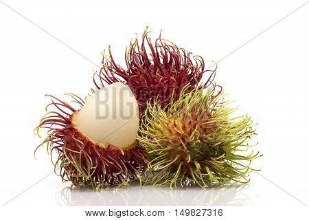 Rambutan Sweet Delicious Fruit Isolated On White Background.