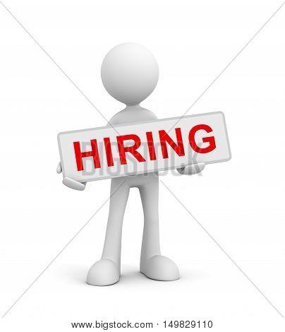 holding hiring  isolated on white background 3d illustration