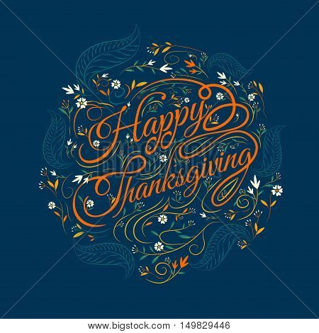 Happy Thanksgivingcaligraphy font autumn leaves Background vector Illustration