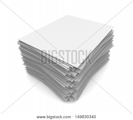 paper stack  isolated on white background 3d illustration