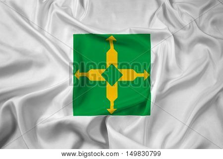 Waving Flag of Distrito Federal Brazil, with beautiful satin background. 3D illustration