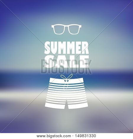 Summer sale poster with man shorts and sunglasses. Beach blurred background flyer for promotion, advertising. Eps10 vector illustration.