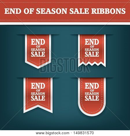 End season sale ribbon elements for online shopping and your products. E-shop icon bookmark with text. Eps10 vector illustration.