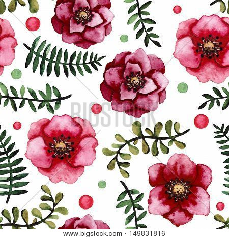 Seamless Pattern with Watercolor Burgundy Flowers Green Leaves and Colorful Dots