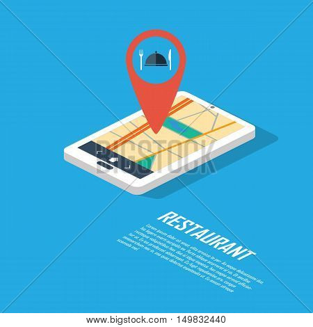 Smartphone navigation in modern flat design with a symbol of restaurant, food, dining. Eps10 vector illustration