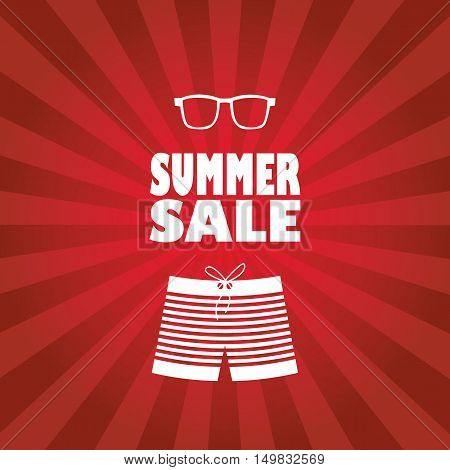 Summer sale poster with man shorts and sunglasses. Red rays stripes background flyer for promotion, advertising. Eps10 vector illustration.