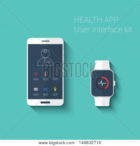 Health app graphic user interface. Medical fitness tracker application for smartphone and smartwatch in modern flat design with line icons. Eps10 vector illustration.