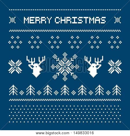 Pixel deers and christmas trees on the white background. Christmas winter pattern print for jersey or t-shirt