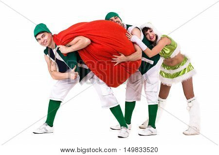 friendly people dressed like a funny gnomes dancing. Isolated on white background in full length.