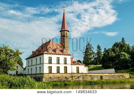 Gatchina.Russia.26 Jun 2016.Priory Palace on the shore of a pond in a Park in Gatchina.