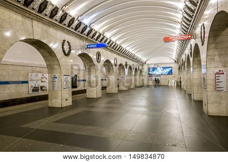 Saint-Petersburg.Russia.13 Sep 2016.The platform and interior of the station Technologicheskiy Institute in Saint-Petersburg subway.