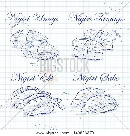 Vector nigiri sushi sketch, set of four types of sushi on a notebook page
