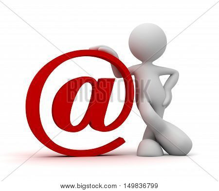 e mail and man 3d illustration on white  background