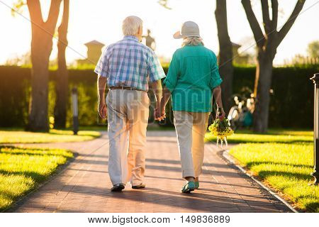 Couple walking on park alley. Back view of elderly people. Strong ties of love. I'm with you.