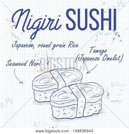 Vector nigiri sushi sketch, Tamago sushi on a notebook page