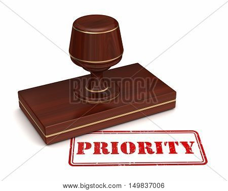 priority stamp 3d illustration on white  background