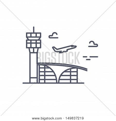 Airport building. Plane taking off. Vector line icon
