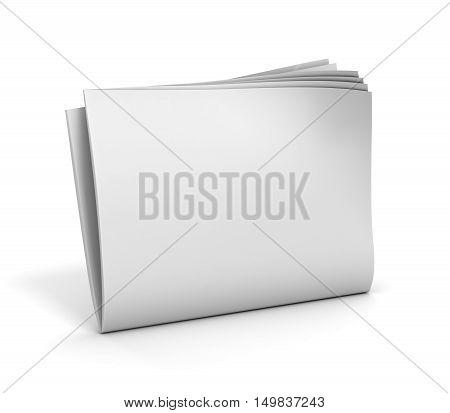 blank newspaper 3d illustration on white background