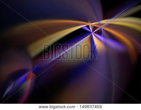 Abstract Fractal Computer-generated Image Colorful Laser Beams