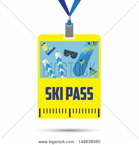 ski pass template with barcode.blue ribbon .equipment for winter holidays.flat design