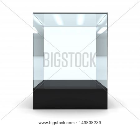 3D illustration of empty glass showcase in front on a white background