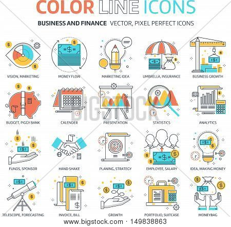 Color Line, Business And Finance Illustrations