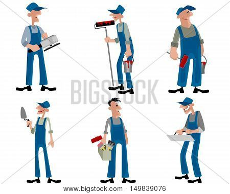 Vector illustration of a six workers set
