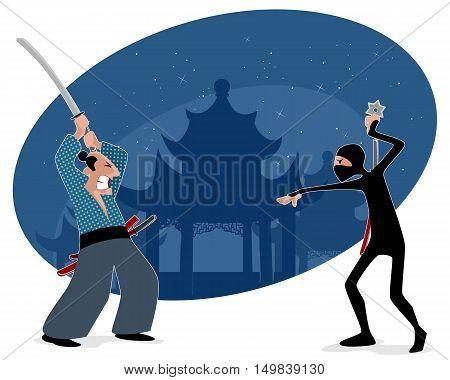 Vector illustration of a samurai vs ninja